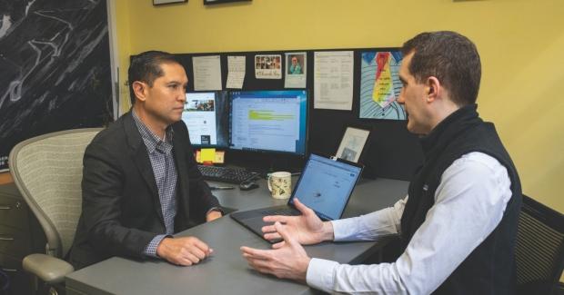 Joe Hsu, MD (left) and Husham Sharifi, MD, discuss diagnostic techniques using machine learning.