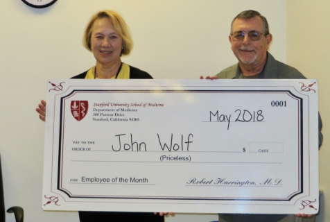 john wolf may 2018 employee of the month department of medicine